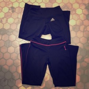 Two pair cropped workouts Adidas and Reebok